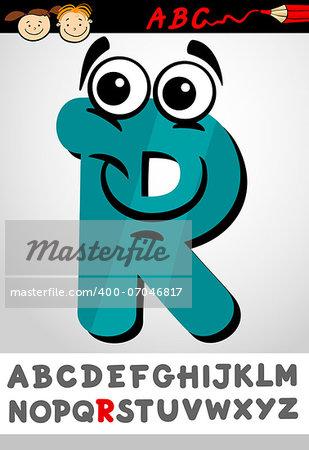 Cartoon Illustration of Cute Capital Letter R from Alphabet for Children Education