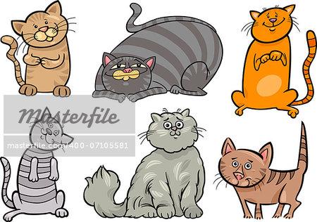 Cartoon Illustration of Funny Cats or Kittens Pet Set