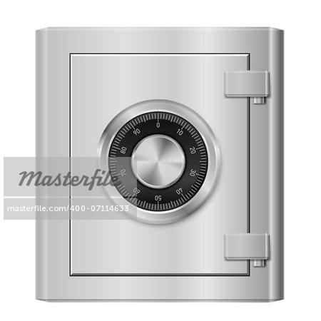 Realistic Steel safe. Illustration on white background for design