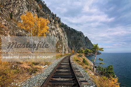 Autumn on the Circum-Baikal railway on south Baikal