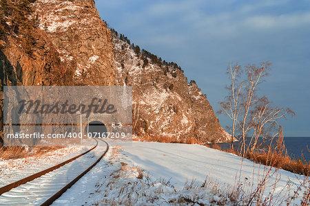 Winter on the Circum-Baikal Road to the south of Lake Baikal