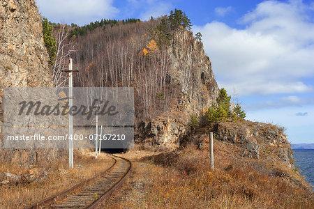Autumn on the Circum-Baikal Road to the south of Lake Baikal