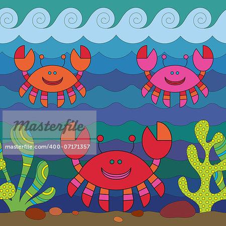 Stylize fantasy crab under water.