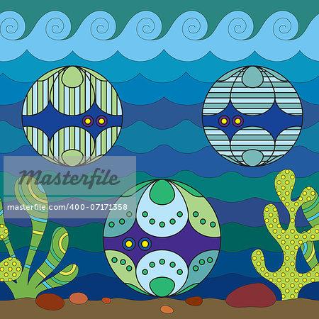 Stylize fantasy shellfish,  under water.