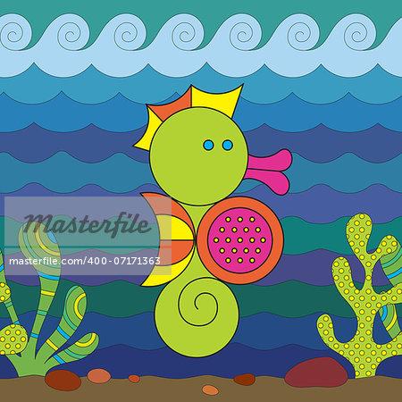Stylize fantasy Seahorse under water.
