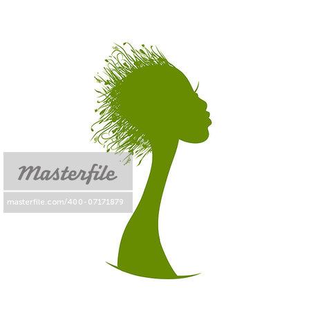 Organic hair care concept, grass on female head