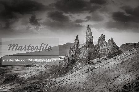 Monochrome vintage view of Old Man of Storr rock formation, Scotland, United Kingdom