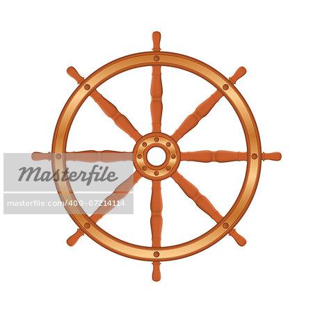 Ship wheel on white background, vector eps10 illustration