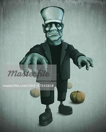 Halloween monster and pumpkin for creepy night