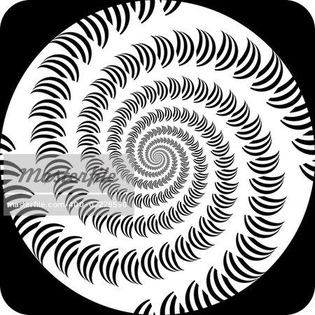 Design decorative spiral movement background. Abstract monochrome icon in op art design. Vector-art illustration