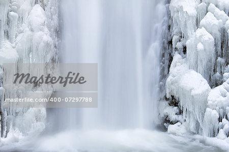 Multnomah Falls Frozen Icicles in Winter Season at Columbia River Gorge Closeup