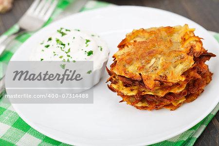 Delicious potato pancakes on a white plate
