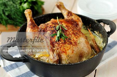 Chicken Roasted in Milk in a Skillet