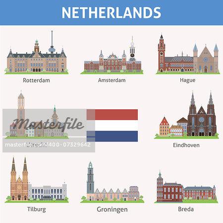 Netherlands. Symbols of cities. Vector set