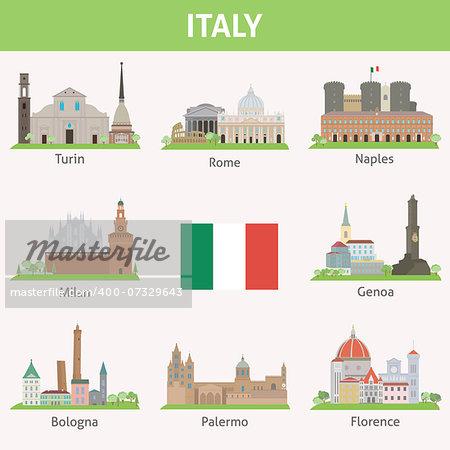 Italy. Symbols of cities. Vector set