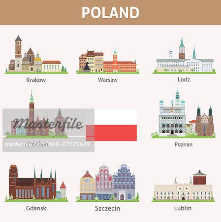 Poland. Symbols of cities. Vector set
