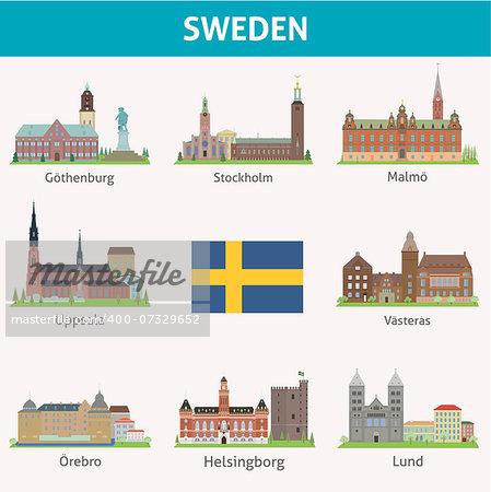 Sweden. Symbols of cities. Vector set