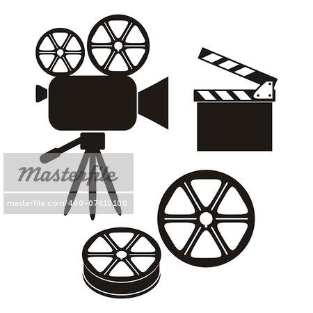 Three retro black movie icons on white background