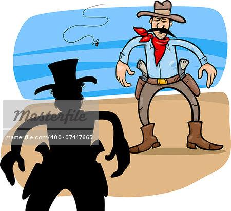 Cartoon Illustration of Two Gunmen or Cowboys Gunfight Duel