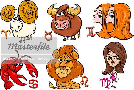 Cartoon Illustration of Horoscope Zodiac Signs Set