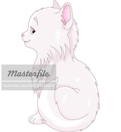 Illustration of white cat sitting
