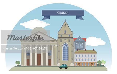 Geneva, Switzerland. Vector for you design