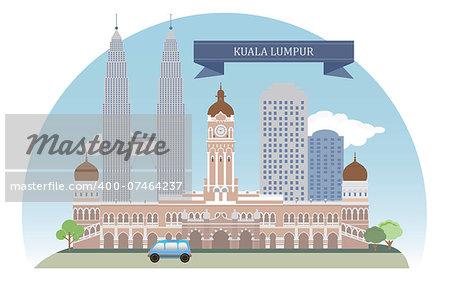 Kuala Lumpur, Malaysia. Vector for you design