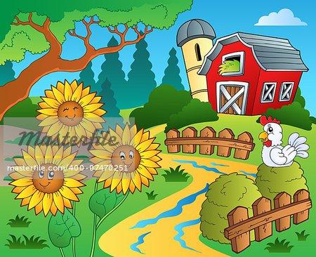 Farm theme with sunflowers - eps10 vector illustration.