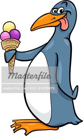 Cartoon Illustration of Funnt Penguin with Ice Cream