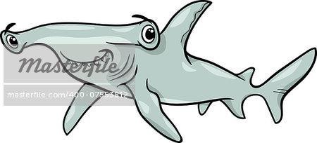 Cartoon Illustration of Hammerhead Shark Fish Sea Life Animal