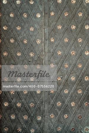 Historical ornate iron door , Prague, Czech Republic