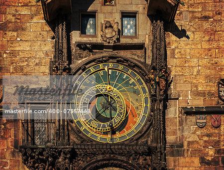 Orloj astronomical clock in Prague in Czech Republic, dark colors
