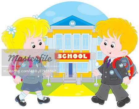 Schoolgirl and schoolboy walking to school