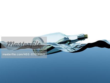 Message in a bottle set adrift in the ocean