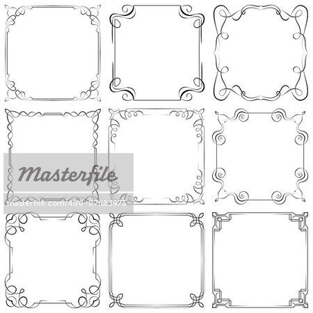 Set of nine different vector decorative frames