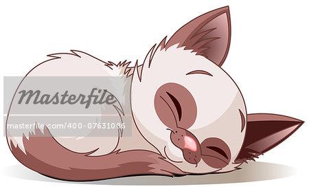 Vector illustration of sleeping cute Siamese kitten