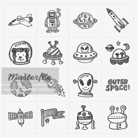 doodle space element icon set