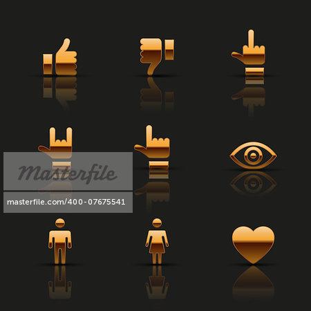 Golden social icons set. Vector illustration.