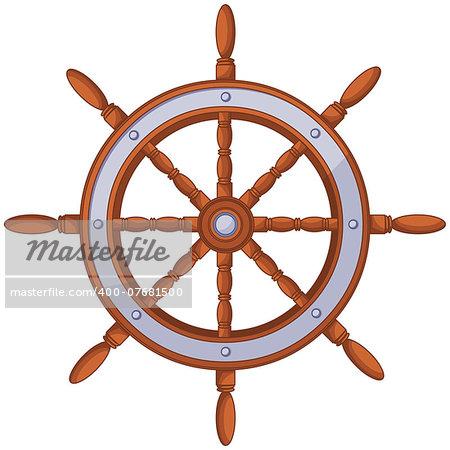 Illustration of ship wood wheel