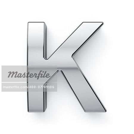 3d render of metalic alphabet letter simbol - K. Isolated on white background
