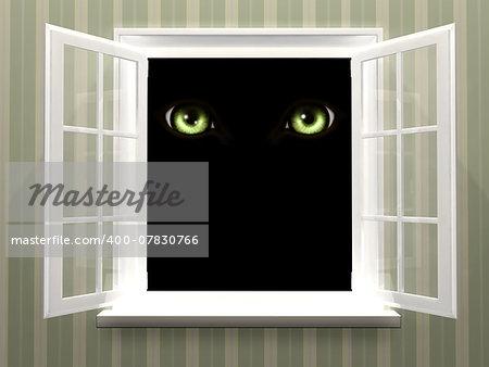 Green eyes of monster  in open window