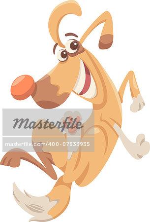 Cartoon Illustration of Funny Playful Dog