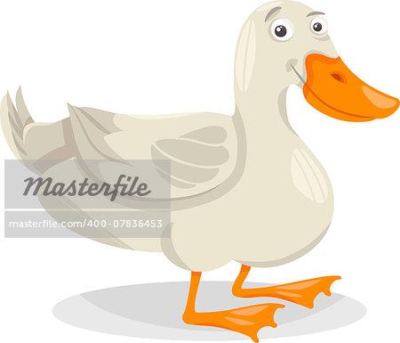 Cartoon Illustration of Funny Duck Farm Bird Animal