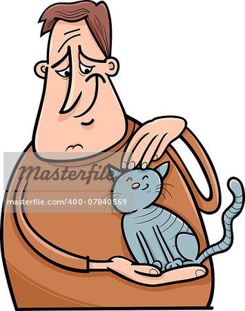 Cartoon Illustration of Man Stroking his Cat or Kitten