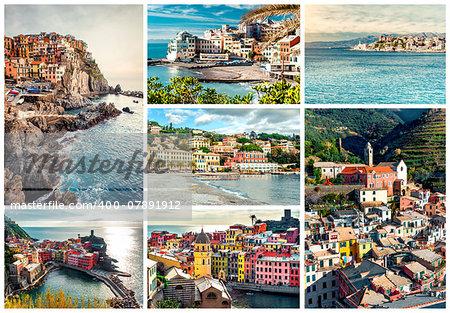 Collage of most famous landmarks in Italy. Italian Riviera-Genoa, Manarola, Vernazza, Bogliasco, Santa Margherita.
