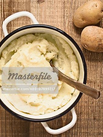 close up of a pot of rustic mash potato