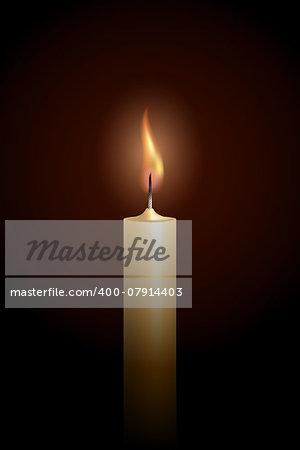 Burning candle on black background. Vector illustration