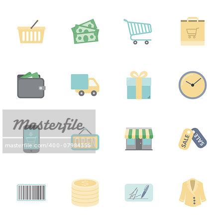 Shopping flat icons set illustration graphic design