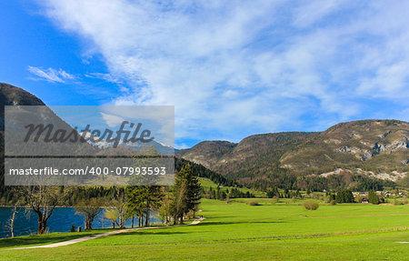 trees, lake, mountains, cloud and blue sky
