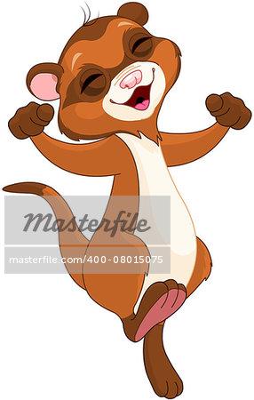 Illustration of very cute ferret